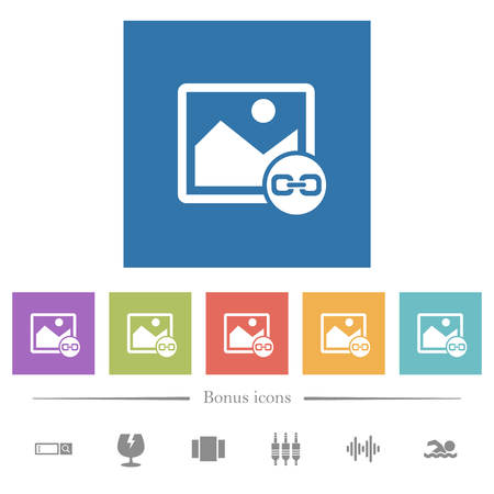 Link image flat white icons in square backgrounds. 6 bonus icons included.