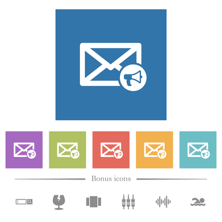 Mail reading aloud flat white icons in square backgrounds. 6 bonus icons included.