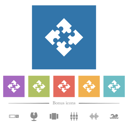 Modules flat white icons in square backgrounds. 6 bonus icons included.