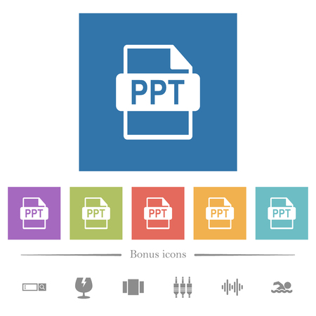 PPT file format flat white icons in square backgrounds. 6 bonus icons included.
