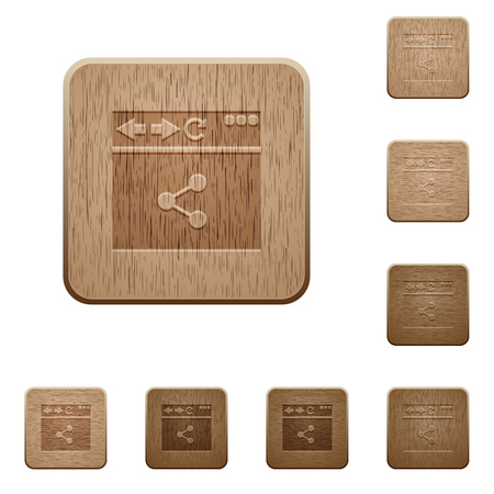 Browser share on rounded square carved wooden button styles