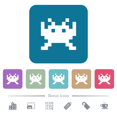 Video game white flat icons on color rounded square backgrounds. 6 bonus icons included