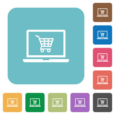 Webshop white flat icons on color rounded square backgrounds