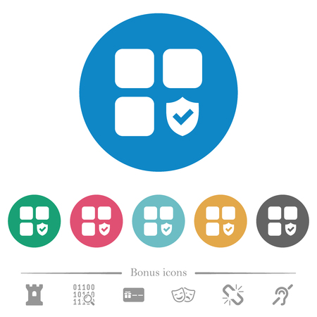 Protected component flat white icons on round color backgrounds. 6 bonus icons included.