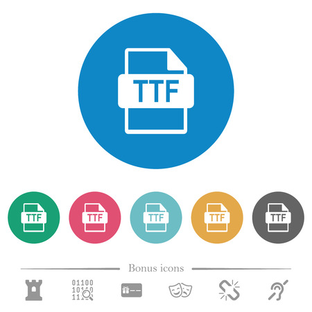 TTF file format flat white icons on round color backgrounds. 6 bonus icons included.