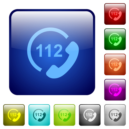 Emergency call 112 icons in rounded square color glossy button set 矢量图像