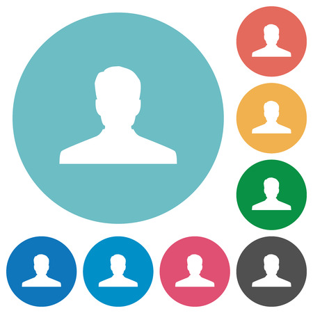 Anonymous avatar flat white icons on round color backgrounds