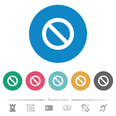 Blocked flat white icons on round color backgrounds. 6 bonus icons included.
