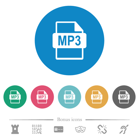 MP3 file format flat white icons on round color backgrounds. 6 bonus icons included.