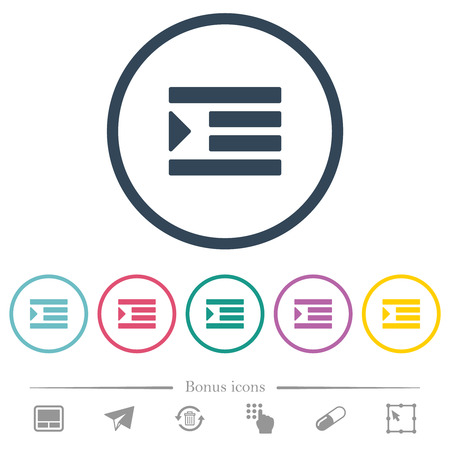 Increase text indentation flat color icons in round outlines. 6 bonus icons included. Ilustração