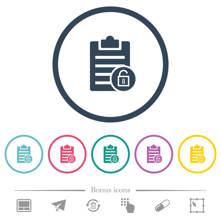 Note unlock flat color icons in round outlines. 6 bonus icons included. Illustration