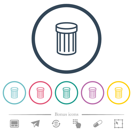 Trash flat color icons in round outlines. 6 bonus icons included. Illustration