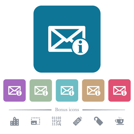 Mail information white flat icons on color rounded square backgrounds. 6 bonus icons included Illustration