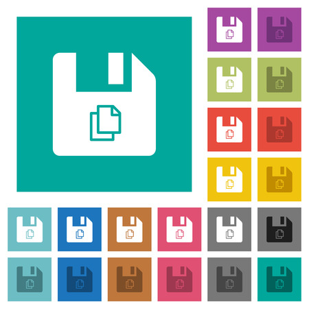 Copy file multi colored flat icons on plain square backgrounds. Included white and darker icon variations for hover or active effects.