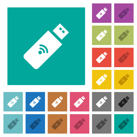 Wireless usb stick multi colored flat icons on plain square backgrounds. Included white and darker icon variations for hover or active effects.