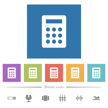 Calculator flat white icons in square backgrounds. 6 bonus icons included. Illustration