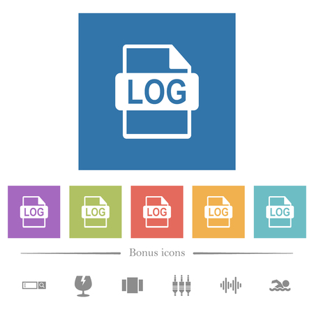 LOG file format flat white icons in square backgrounds. 6 bonus icons included.