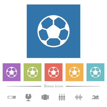 Soccer ball flat white icons in square backgrounds. 6 bonus icons included.