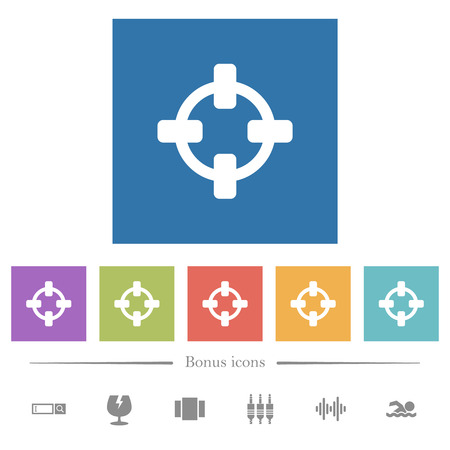 Target flat white icons in square backgrounds. 6 bonus icons included. Illustration