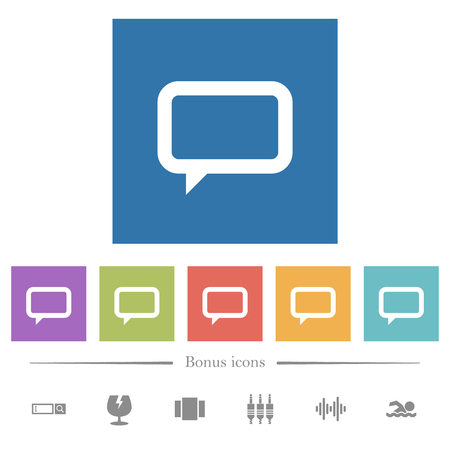 Empty comment bubble flat white icons in square backgrounds. 6 bonus icons included.