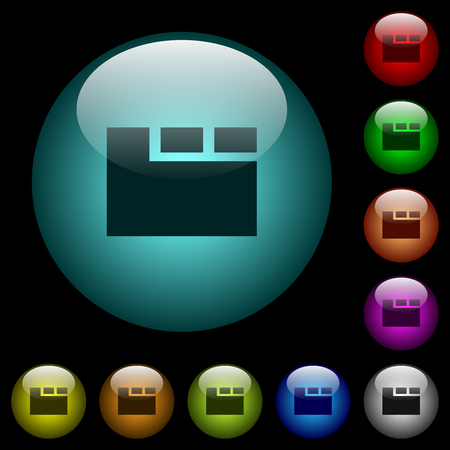 Horizontal tabbed layout active icons in color illuminated spherical glass buttons on black background. Can be used to black or dark templates