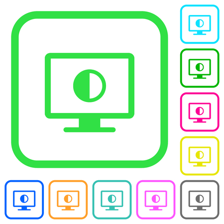 Adjust screen contrast vivid colored flat icons in curved borders on white background
