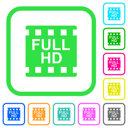 Full HD movie format vivid colored flat icons in curved borders on white background