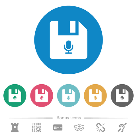 Voice file flat white icons on round color backgrounds. 6 bonus icons included. Illusztráció