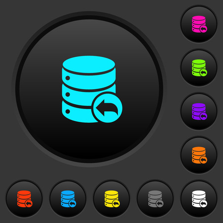 Database transaction rollback dark push buttons with vivid color icons on dark grey background