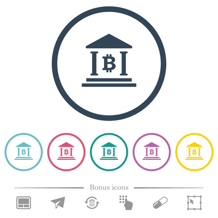 Bitcoin bank office flat color icons in round outlines. 6 bonus icons included.