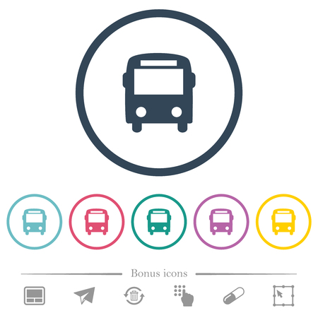 Bus flat color icons in round outlines. 6 bonus icons included.