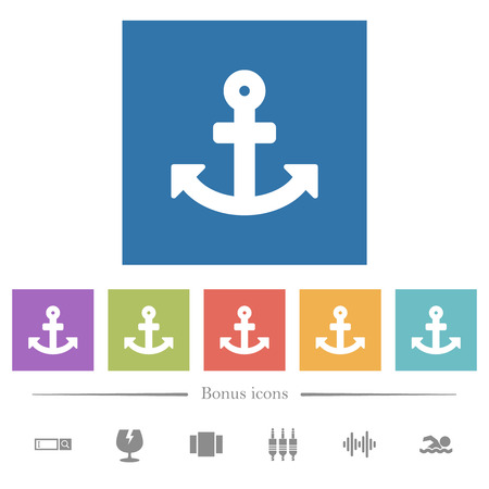 Anchor flat white icons in square backgrounds. 6 bonus icons included. 向量圖像