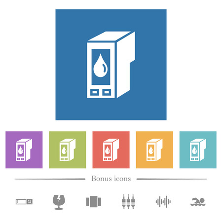 Ink cartridge flat white icons in square backgrounds. 6 bonus icons included.