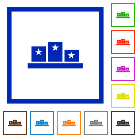 Winners podium with inside stars flat color icons in square frames on white background