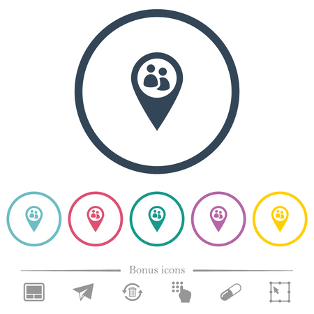 Fleet tracking flat color icons in round outlines. 6 bonus icons included. Ilustracja