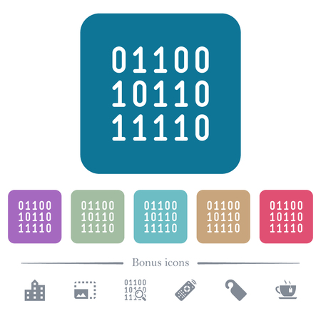 Binary code white flat icons on color rounded square backgrounds. 6 bonus icons included Çizim
