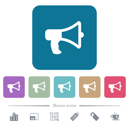 Megaphone white flat icons on color rounded square backgrounds. 6 bonus icons included