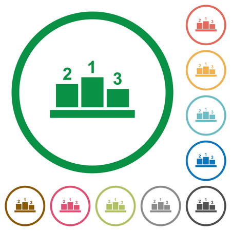 Winners podium with outside numbers flat color icons in round outlines on white background Ilustrace