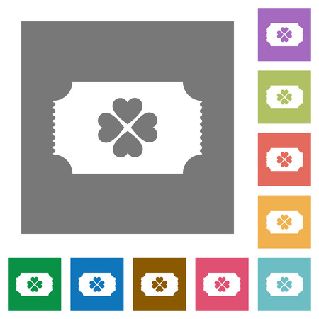Lottery ticket flat icons on simple color square backgrounds