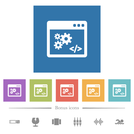 Application programming interface flat white icons in square backgrounds. 6 bonus icons included. Illustration