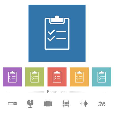 Lista de verificación iconos planos blancos en fondos cuadrados. Se incluyen 6 iconos de bonificación.