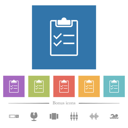 Checklist flat white icons in square backgrounds. 6 bonus icons included.