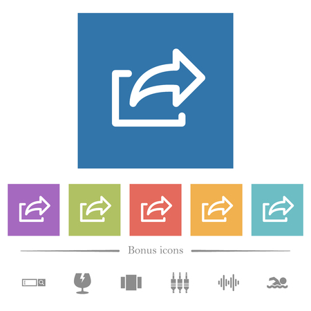 Export symbol flat white icons in square backgrounds. 6 bonus icons included. Illustration