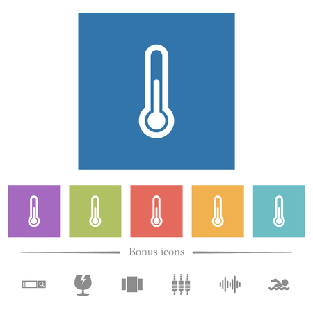 Thermometer flat white icons in square backgrounds. 6 bonus icons included.