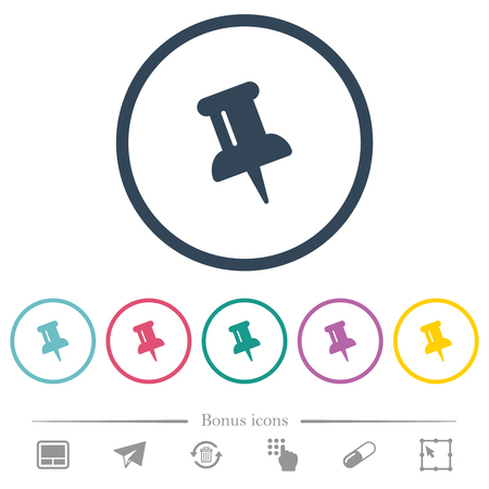 Push pin flat color icons in round outlines. 6 bonus icons included.