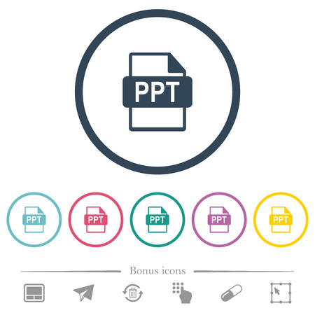 PPT file format flat color icons in round outlines. 6 bonus icons included.