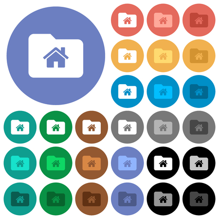 Home folder multi colored flat icons on round backgrounds. Included white, light and dark icon variations for hover and active status effects, and bonus shades.