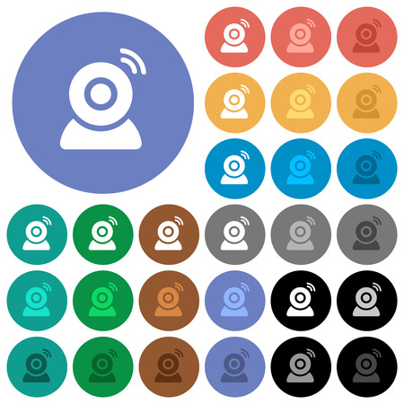 Wireless camera multi colored flat icons on round backgrounds. Included white, light and dark icon variations for hover and active status effects, and bonus shades.