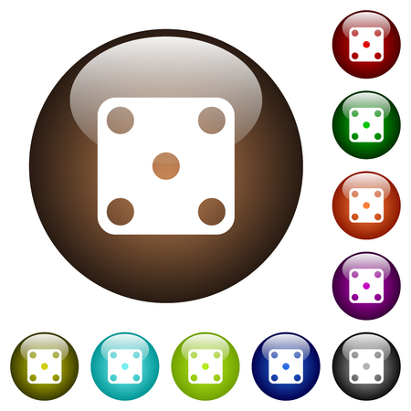 Domino five white icons on round color glass buttons