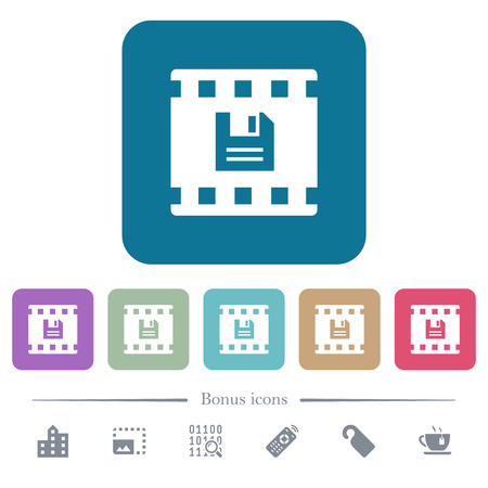 Save movie white flat icons on color rounded square backgrounds. 6 bonus icons included